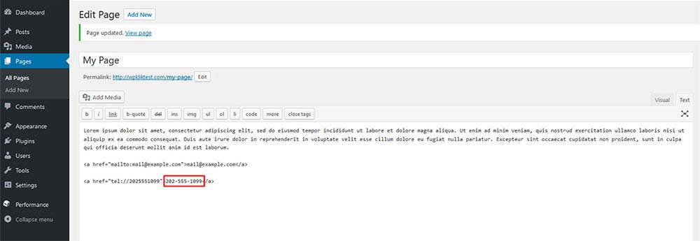 wordpress tel hyperlinks