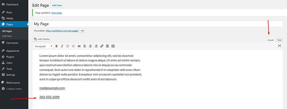 wordpress hyperlinks
