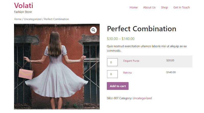 Grouped single WooCommerce produce