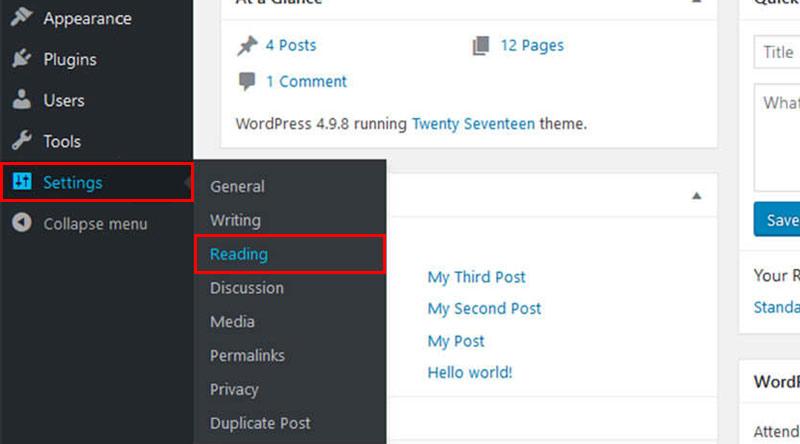 WordPress Static Page