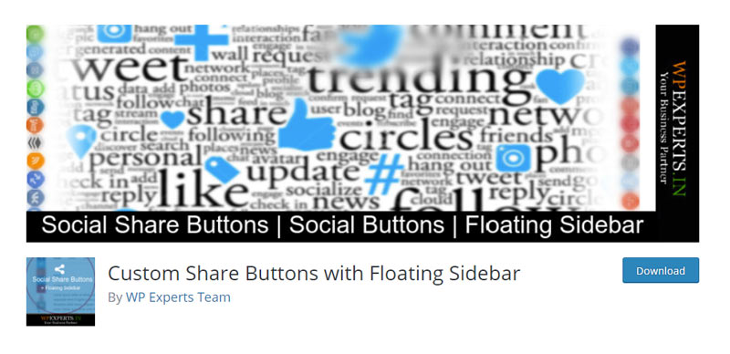 Custom Share Buttons with Floating Sidebar