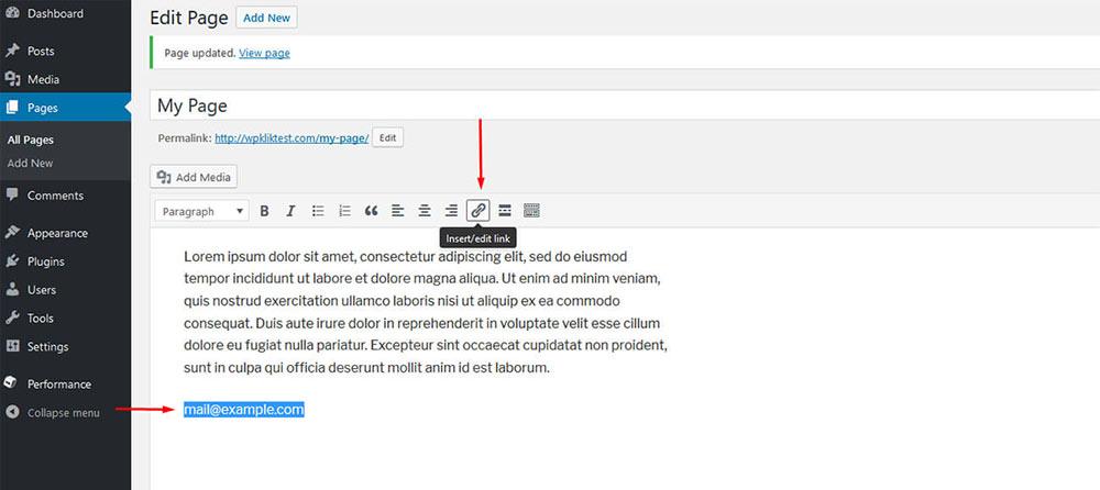 insert link wordpress