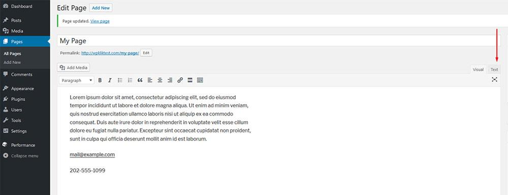 hyperlinks in wordpress
