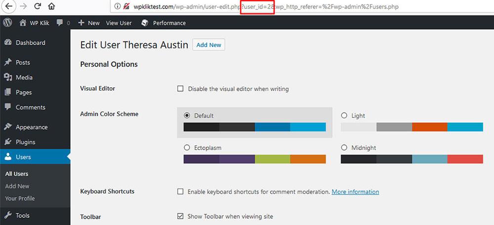 user wordpress id number