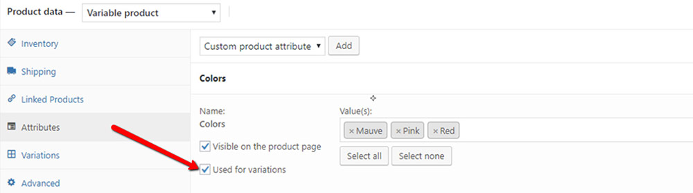 product attributes wordpress