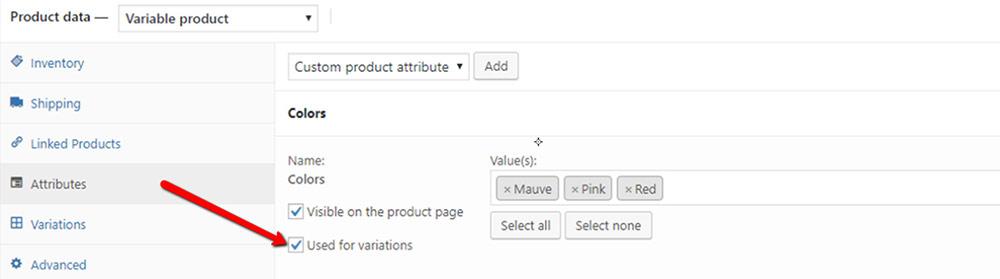 product attributes wordpress