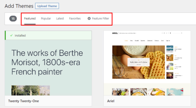 Search for WordPress theme in directory