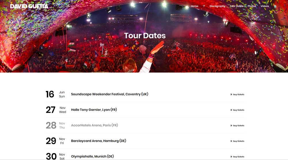Tour Dates Page