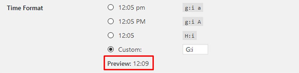 wordpres time format
