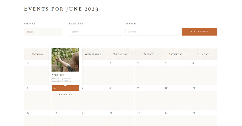 Aperitif WordPress Theme Calendar