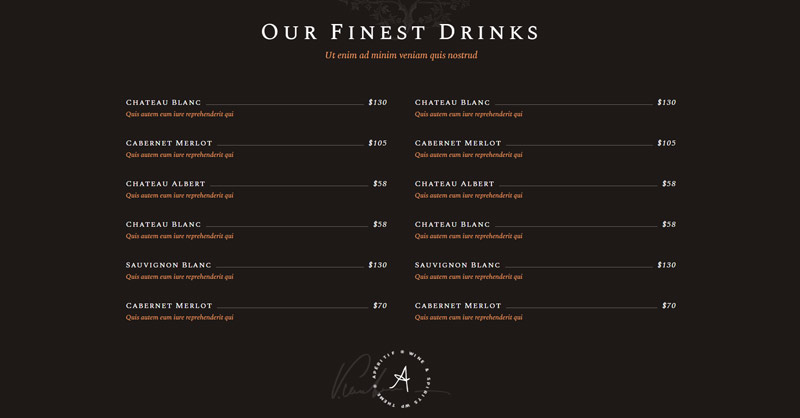 Aperitif WordPress Theme Menu
