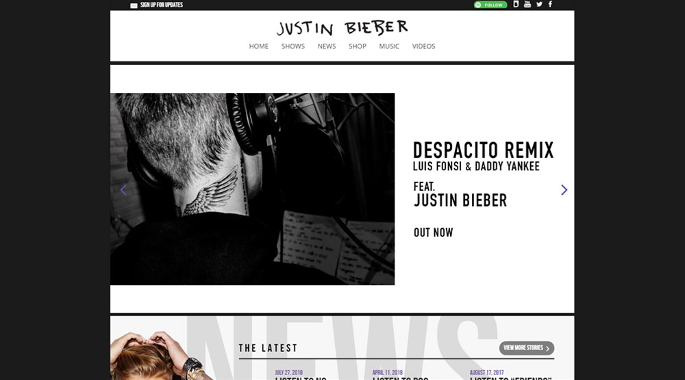 Justin Bieber wordpress website