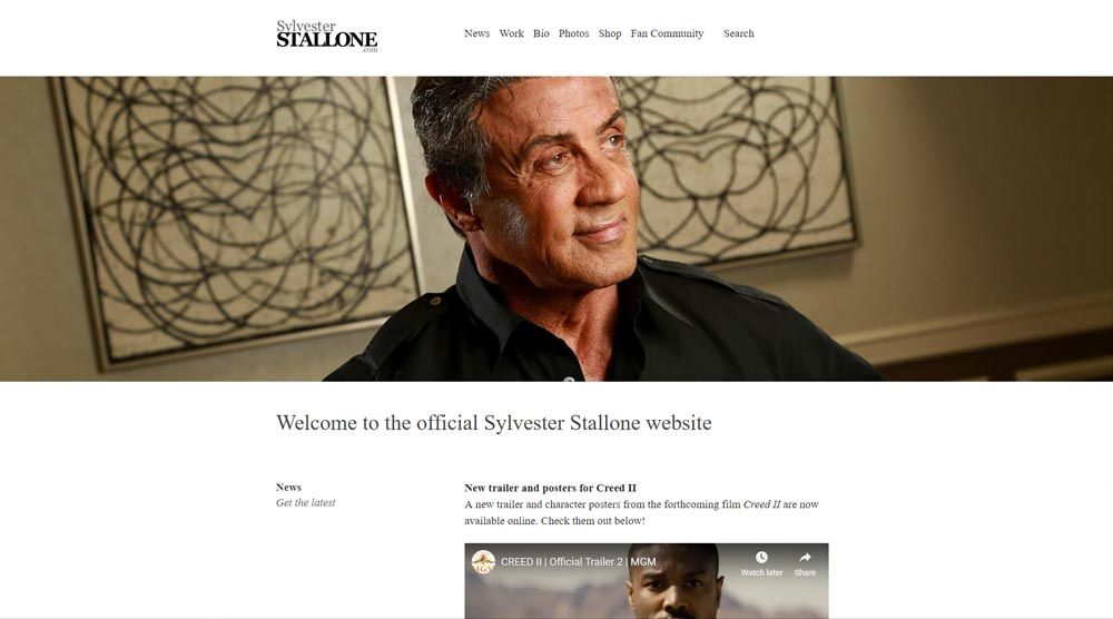 Silvester Stallone wordpress website