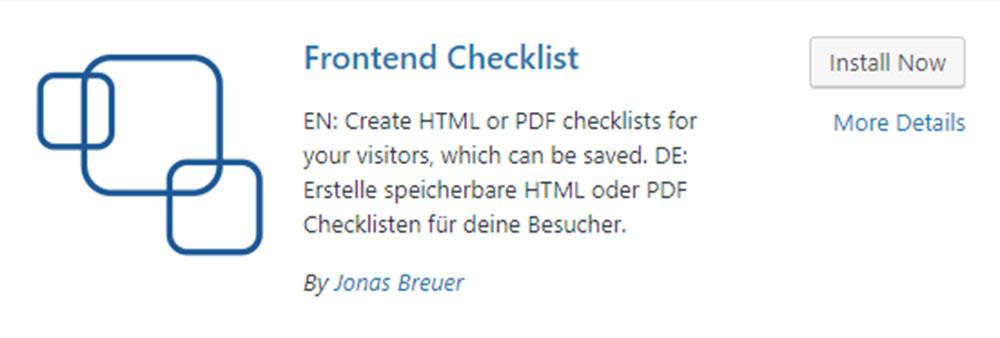 Frontend Checklist Plugin