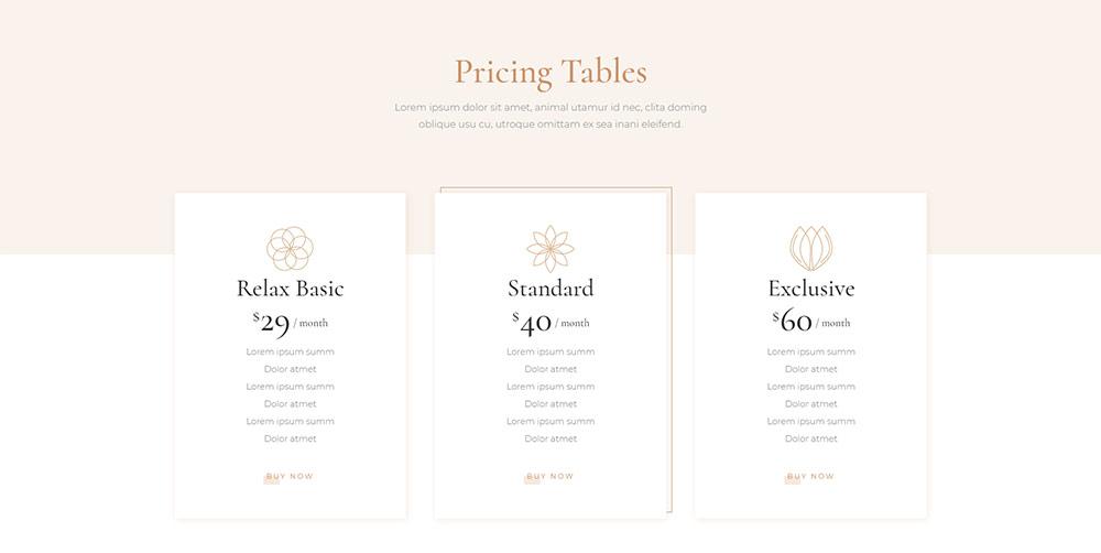 Dalia Pricing Tables