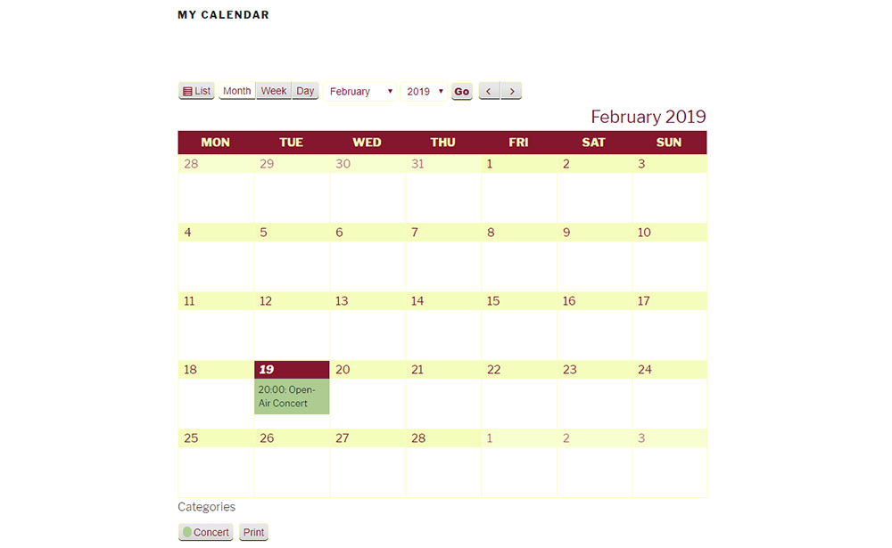 Calendar with Changed Colorss