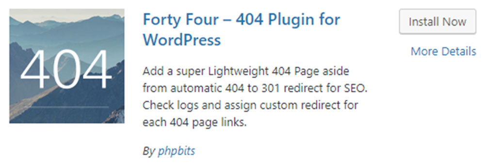 Forty Four 404 Plugin