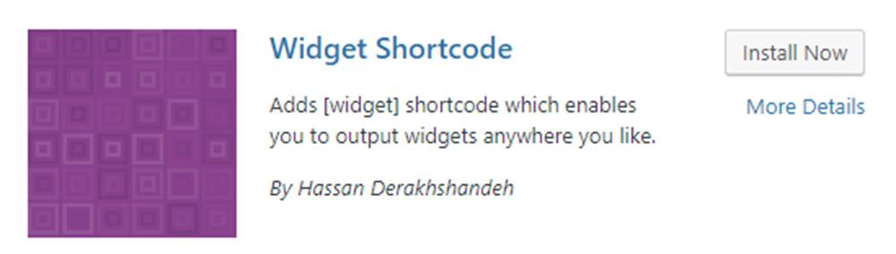 Widget Shortcode