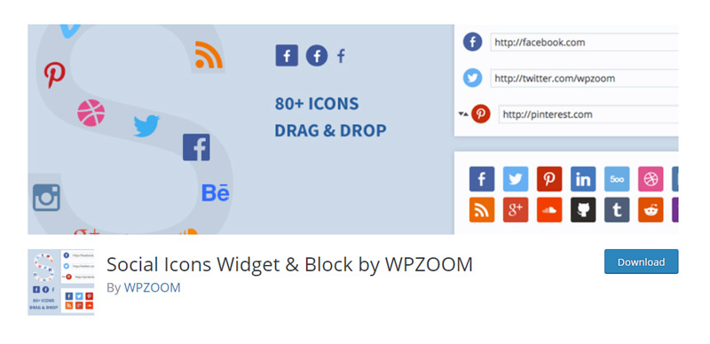 Social Icons Widget Block by WPZOOM