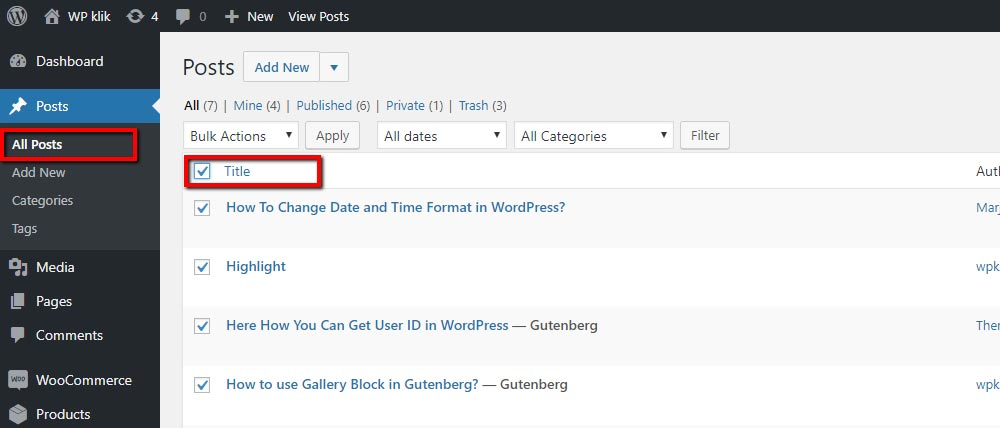 Select WordPress Posts