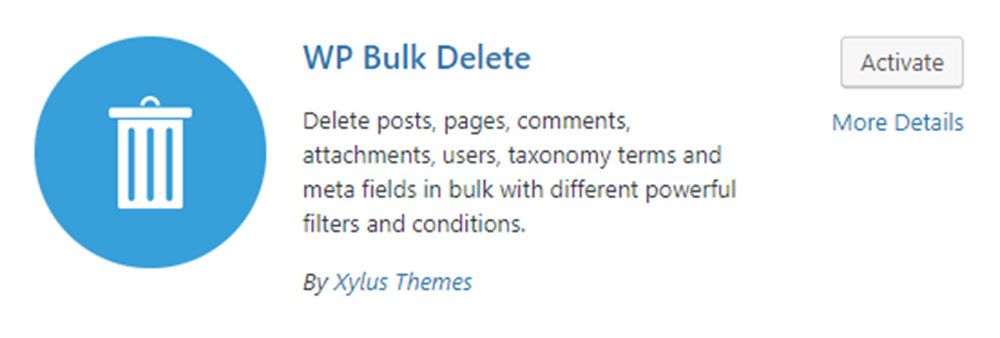WP Bulk Delete Plugin