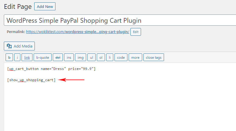 Add the shopping cart shortcode