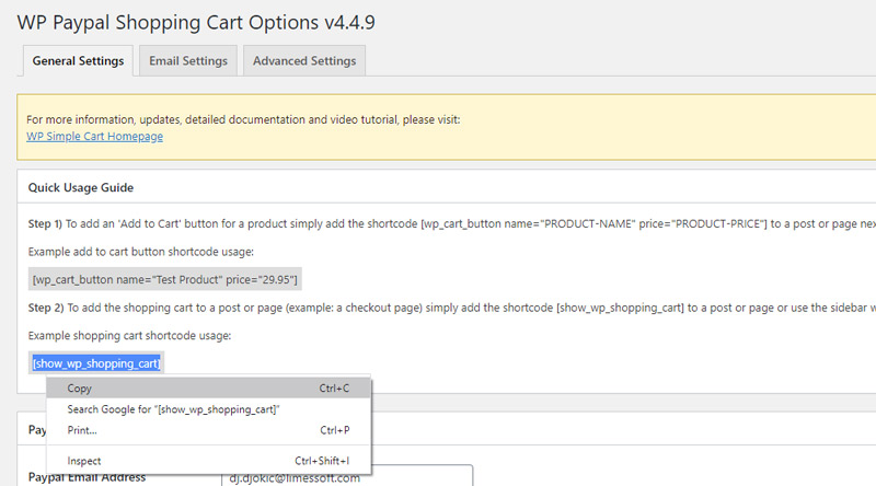 add the shopping cart to a post or a page