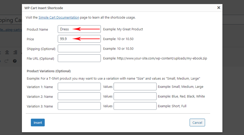 Enter your product details