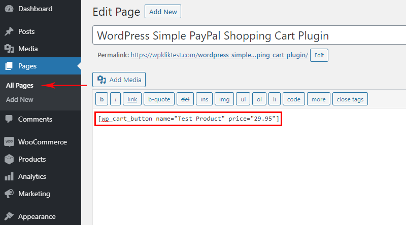Simply paste code in the post