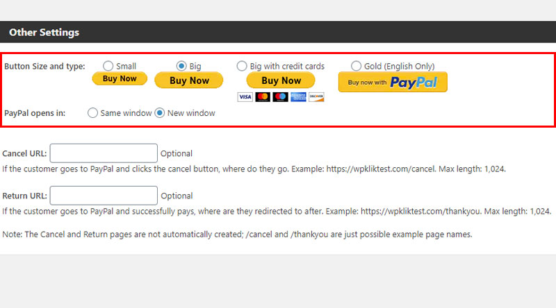 Variations of the PayPal button