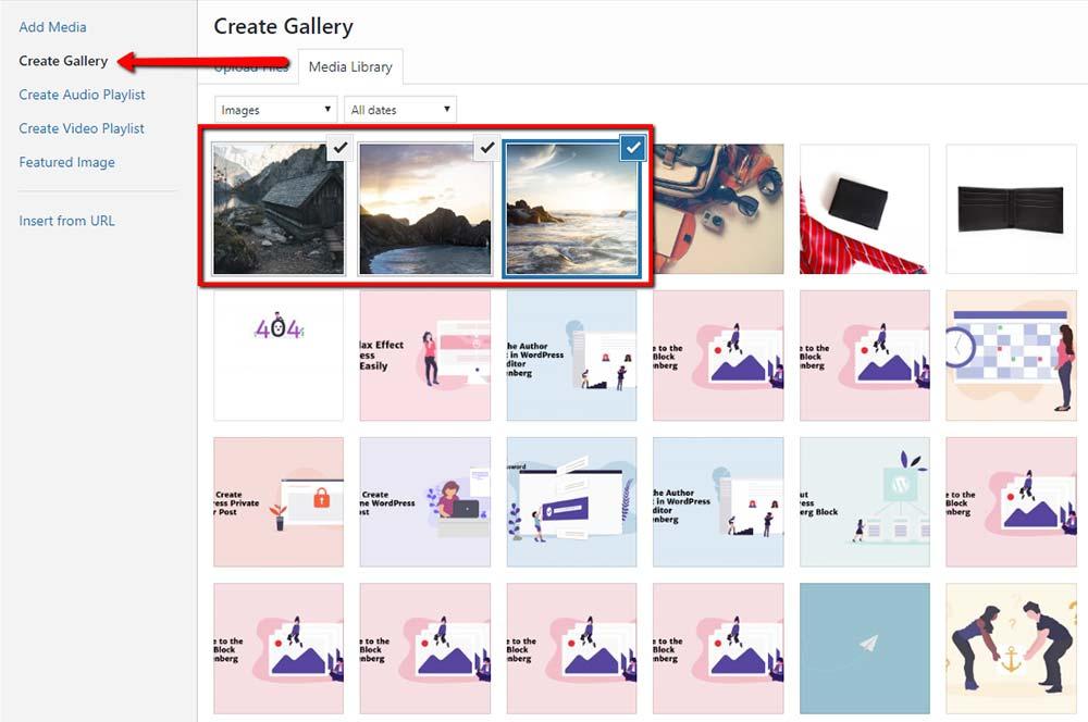 Create Gallery WordPress Option
