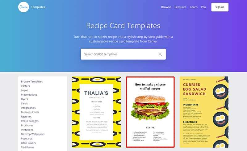 Canva Recipe Card Templates
