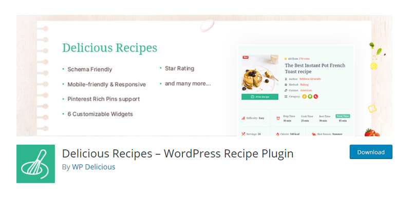 Delicious Recipes plugin