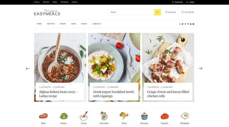 EasyMeals Food Blog WordPress Theme
