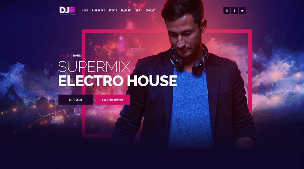 DJ Rainflow Music WordPress Theme