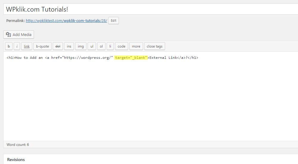 WordPress Target Blank