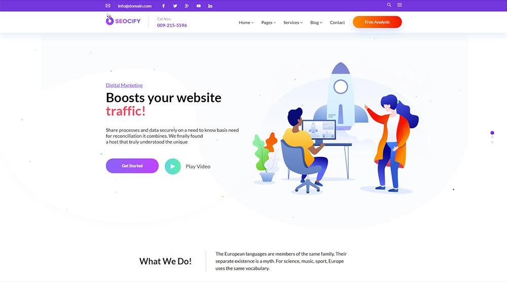 Seocify WordPress Theme with Slider