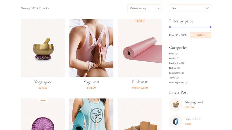 Hatha Yoga WordPress theme shop