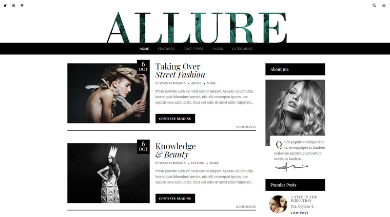 Allure Blog WordPress Theme