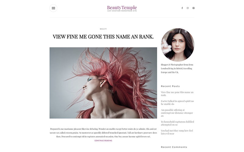 BeautyTemple WordPress Theme
