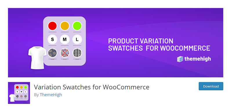 Variation Swatches for WooCommerce by ThemeHigh