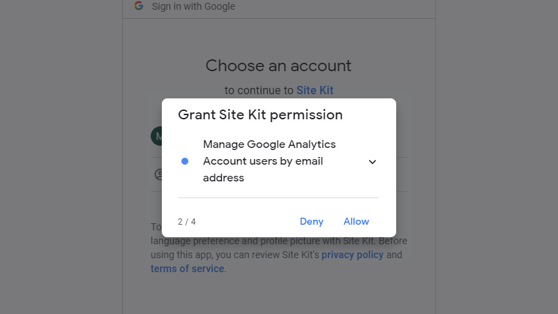 Second additional permissions to Google Analytics