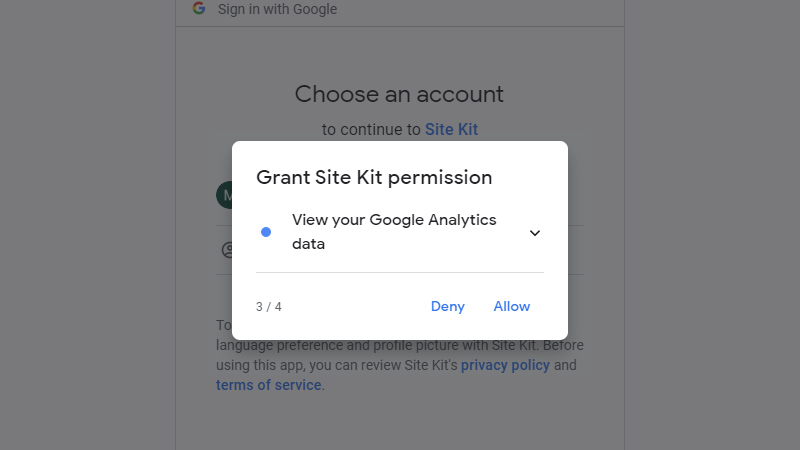 Third additional permissions to Google Analytics