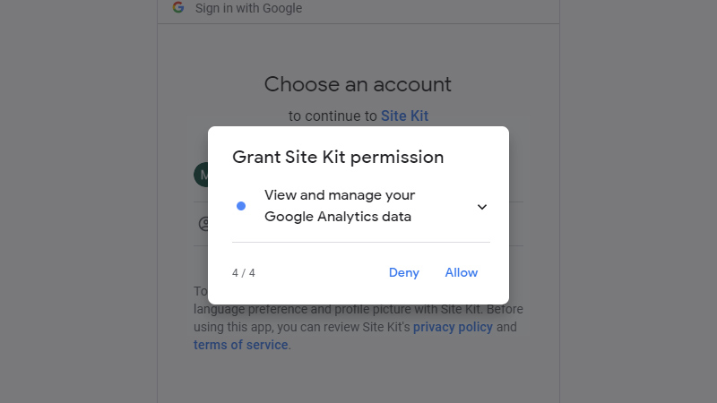 Fourth additional permissions to Google Analytics