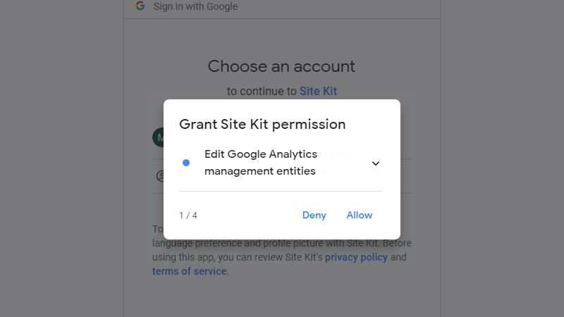 First additional permissions to Google Analytics