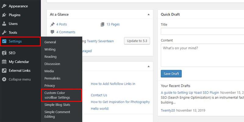 Advanced Scrollbar Plugin Settings