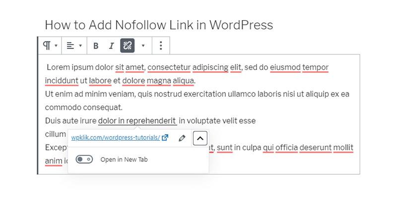 Gutenberg nofollow link