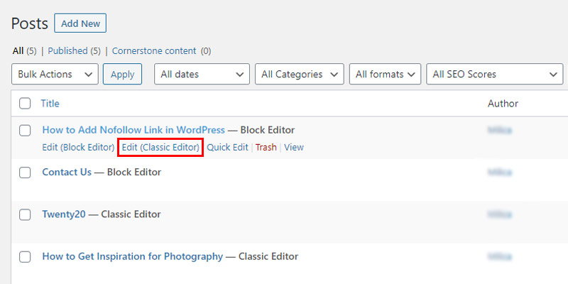 Nofollow links in the Classic Editor