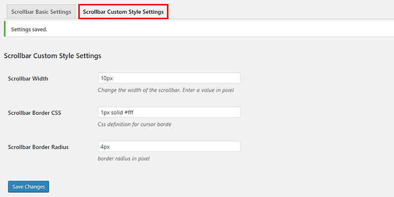 Scrollbar Custom Style Settings