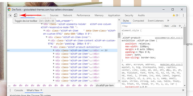 Toogle device toolbar